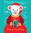 cute rat character christmas card cartoon mouse vector image vector image