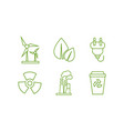 ecology and energy saving green line icons set vector image vector image