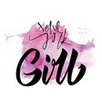 girl calligraphy lettering hand vector image