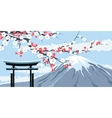 graphic mount fuji with cherry blossoms vector image