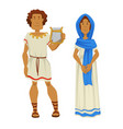 greek man and woman in national clothing with harp vector image