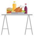 hamburger and meat fastfood and drink vector image vector image