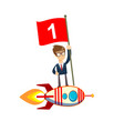 happy businessman holding number one flag standing vector image vector image