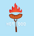 hot dog sausage on fire fork background ima vector image vector image