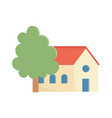 house and tree cartoon facade design icon vector image