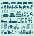 icons set interior collection-silhouettes vector image vector image