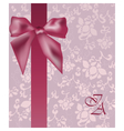Invitation card with bow and ornaments vector image vector image