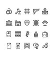 law and justice line icons court judge and vector image