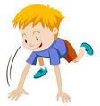 Little boy kneeling down vector image vector image