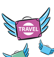 logo flying suitcases with wings vector image vector image