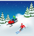 man driving sports snowmobile man and fast action vector image