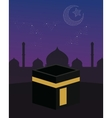 mecca kaaba islam beautiful sky stars crescent vector image vector image