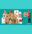moving to new house family relocated to new home vector image vector image