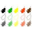 oak leaf color set vector image vector image