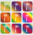 Palm sign icon Nine buttons with bright gradients vector image vector image