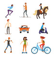 personal transportation vehicles set people on vector image vector image