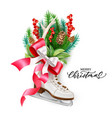 realistic merry christmas spruce tree skate vector image vector image