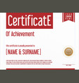 red certificate or diploma template vector image vector image