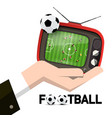 retro tv with soccer ball and stadium top view in vector image vector image