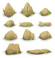 rocks and boulders with grass leaves set vector image