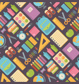school items seamless pattern on dark background vector image