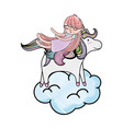 scribbled sleeping girl with beauty unicorn in the vector image vector image