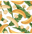 seamless pattern with fresh bananas and green vector image vector image
