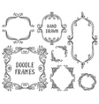 Set of hand drawn doodle frames on white vector image vector image