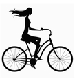 silhouette girl on bike vector image vector image