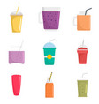 Smoothie fruit juice icons set flat style