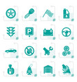 stylized car and transportation icons vector image