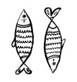 stylized fishes in grunge line art aquarium river vector image