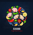 the shellfishes and vegetables vector image vector image