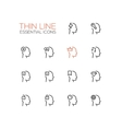 Thoughts in Heads - Thin Single Line Icons Set vector image