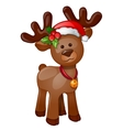 Toy isolated reindeer with Christmas hat vector image