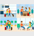 traveling people couple in airport hotel reception vector image vector image