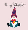 valentines day card with gnome vector image vector image