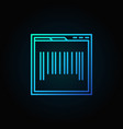 webpage with barcode blue concept icon or symbol vector image vector image