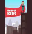 boy superhero with red cloak over the city vector image