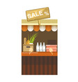 counter with sale sign milk in bottles and fresh vector image