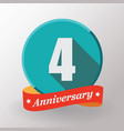 4 anniversary label with ribbon vector image vector image