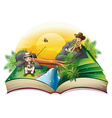 A book about two explorers vector image vector image
