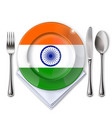 a plate with an indian flag vector image vector image