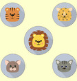 a set of icons in the circle of a cat a tiger a vector image