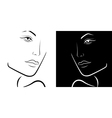 Black and White female laconic heads outline vector image