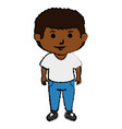 black little boy character vector image vector image