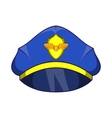 Blue pilot cap with badge icon cartoon style vector image vector image