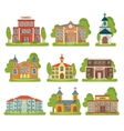 Building School Church Icon Set vector image vector image