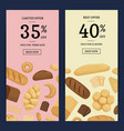 cartoon bakery elements web banner vector image vector image