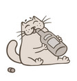 cartoon cat holds a glass bottle of wine and vector image